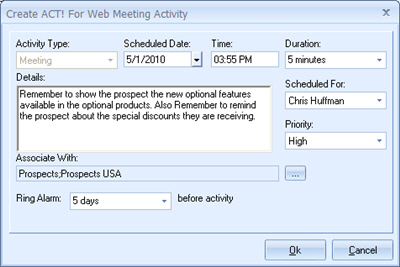 QuoteWerks Creates a Meeting in ACT! for Web