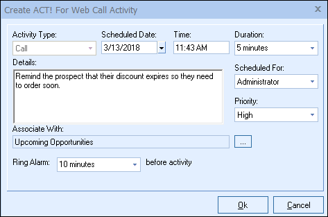 QuoteWerks Creates a Call in ACT! for Web